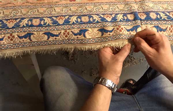 Reparation/Restauration tapis - Franges - video 1